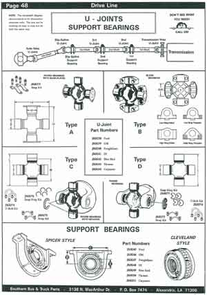 Driveline U-Joints and Support Bearings for School Buses