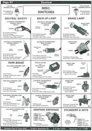 Park Brake Switches for School Buses